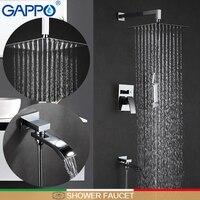 Gappo душа из нержавеющей стали душ смеситель Водопад Ванна Нажмите смеситель для ванны душем настенное крепление осадков набор для душа