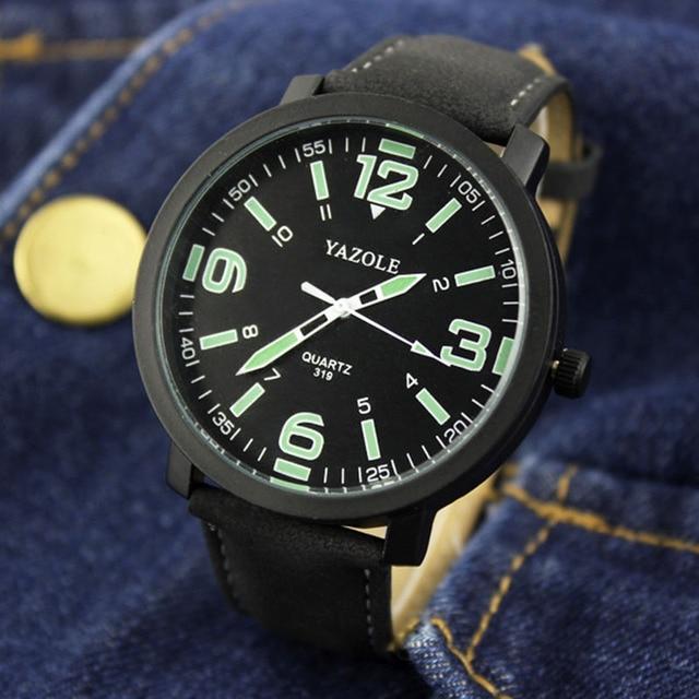 f32e408527e YAZOLE Marca de topo Homens Relógio de Pulso Relógio de Forma Dos Homens  Luminosos Assistir Relógio