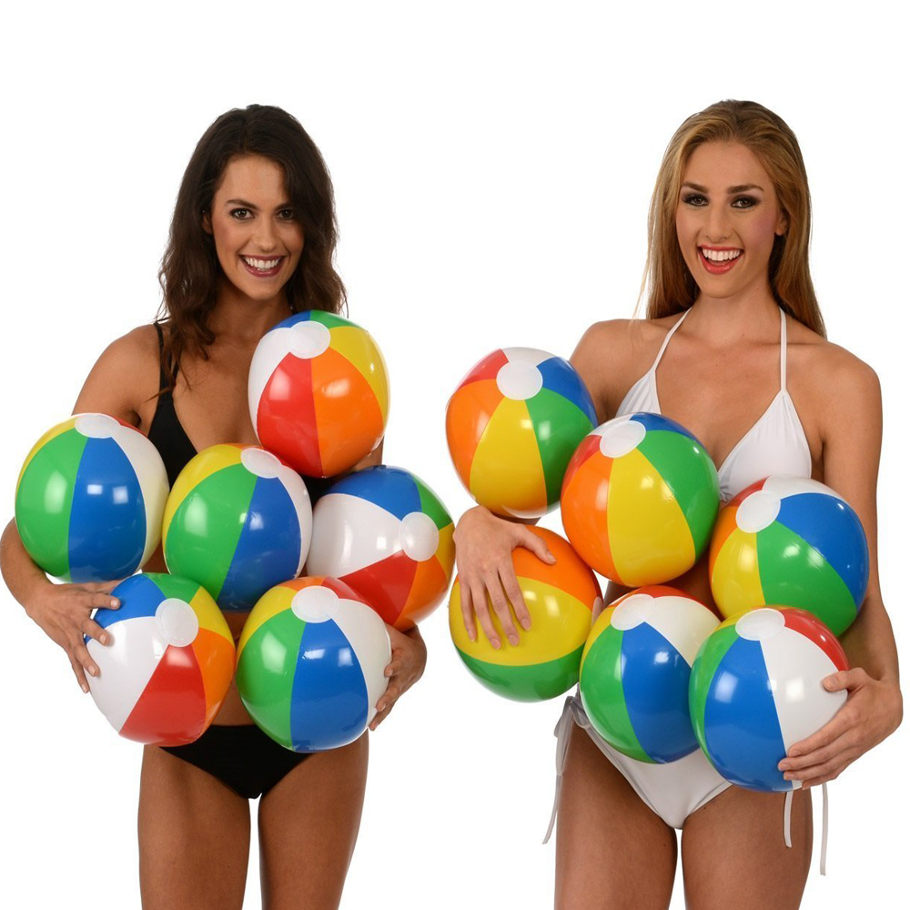 12pcs Rainbow Ball Kids Inflatable Beach Play Beach Ball Swimming Pool Toys Children Rubber Soft Toys