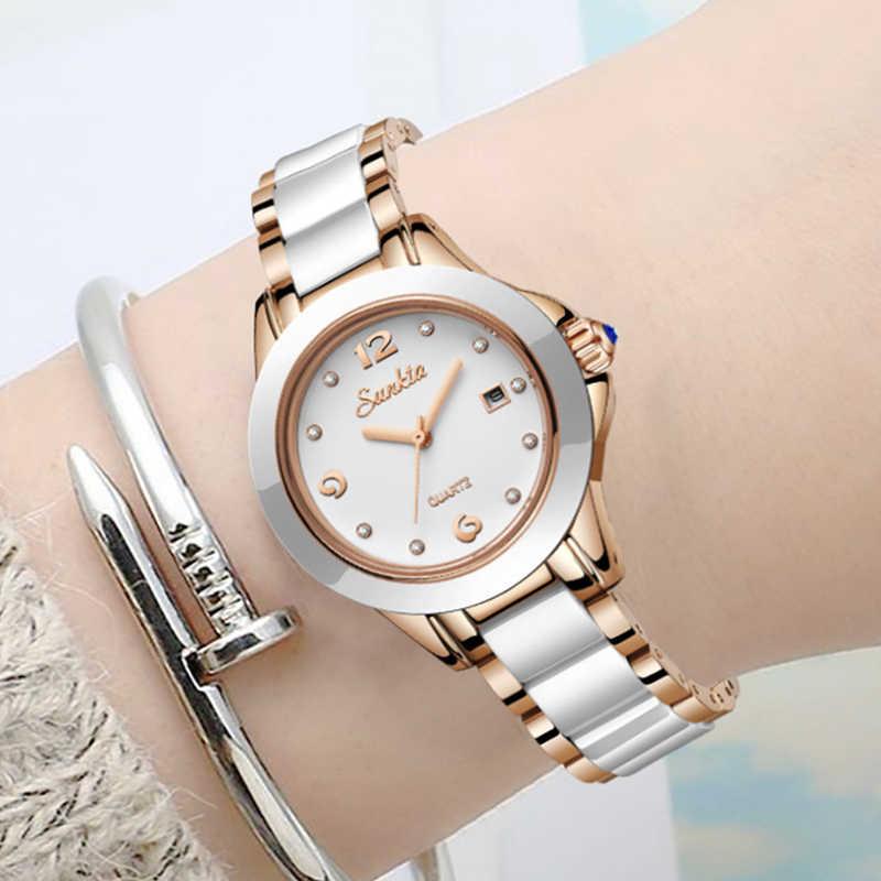 SUNKTA New Rose Gold Watch Mulheres Relógios de Quartzo Das Senhoras Top Marca de Luxo Relógio De Pulso Feminino Relógio Menina presente Esposa Zegarek damski