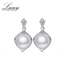 LACEY Wedding Pearl Earrings,Trendy  White Natural Earrings 925 sterling Silver Fine Jewelry Party gift Brincos perolas