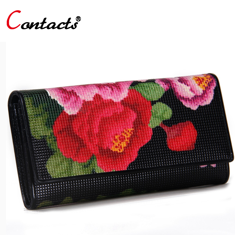 CONTACT'S Genuine Leather Wallet Female Purse Printing Flowers designer Clutches Phone coins Card Holder Female Money Bag 2017