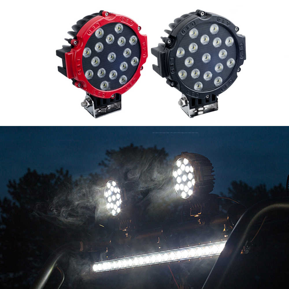 "1 Pcs ECAHAYAKU 7"" 51W Round LED Work Light Spot Flood beam For 4x4 Offroad Truck Tractor ATV SUV Driving Lamp Car accessories"