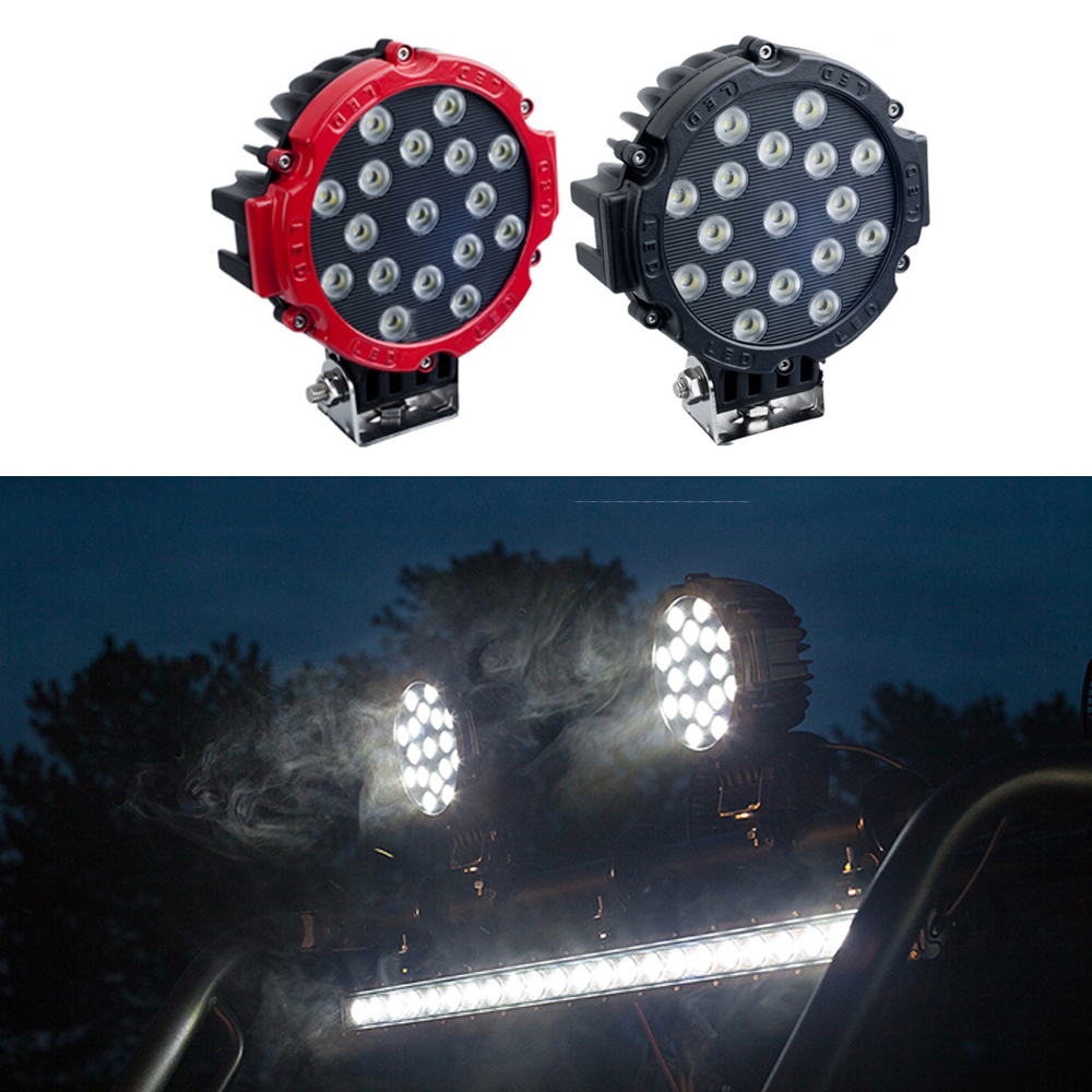 Pair 51W Flood Beam LED Work Light Lamp For Offroad Driving AUTO Truck Boat RED