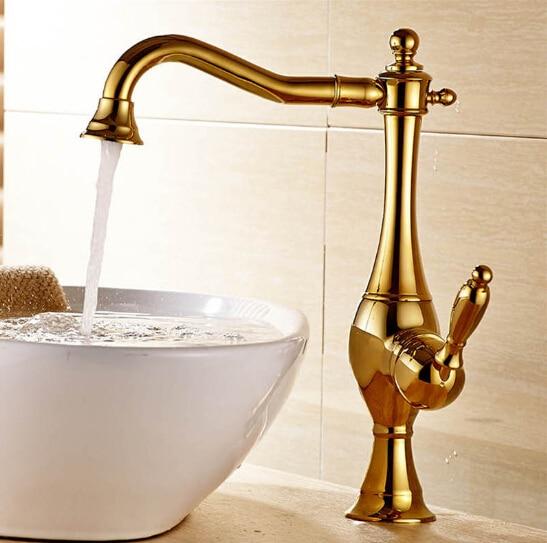 Free shipping brush nickel finish single handle rotating Bathroom basin faucet sink mixer kitchen faucet cold