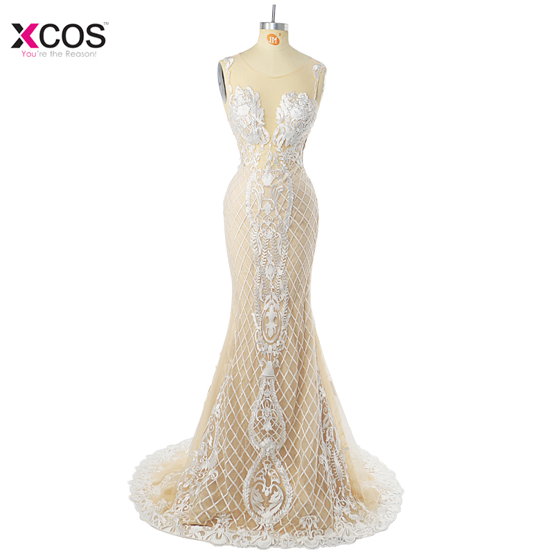 Vestido De Festa Elegant Mermaid Evening Dress Long Scoop Formal Floor Length Appliques Sleeveless White Lace Prom Dresses 2018