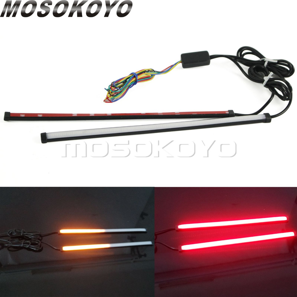 Car Motorcycle DRL LED Sequential Light Strip Flowing Switchback Brake Lights Red Amber Flasher 30cm Knight Rider Turn Signal