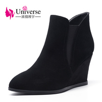 Universe Wedge Heel Boots For Women Concise Winter Boots Fashion Black Suede Leather Shoes G396