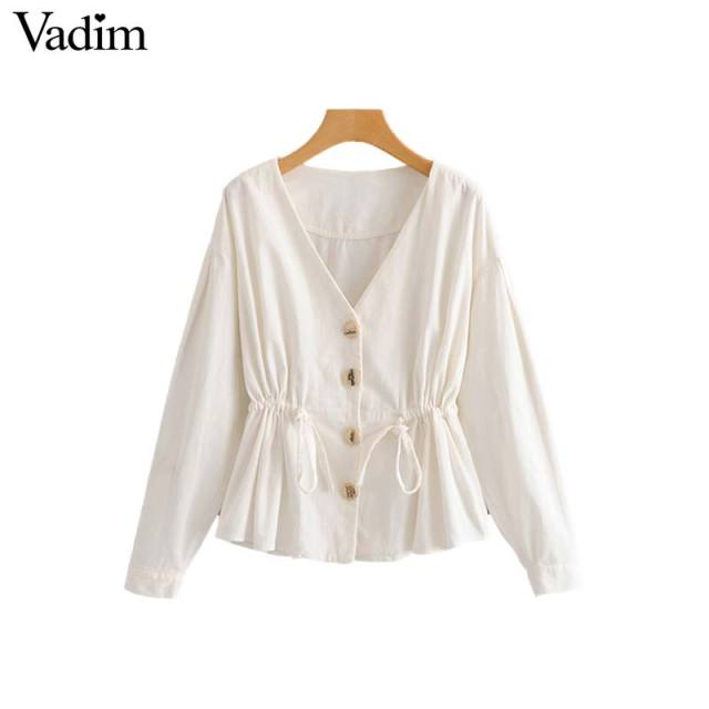 Vadim women stylish curduroy loose blouse V neck bow tie sashes pleated long sleeve shirts ladies white casual tops blusas LA281