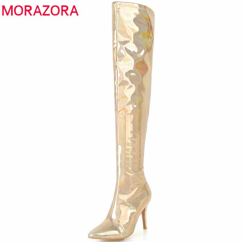 Morazora 2018 Baru Kedatangan Di Atas Lutut Wanita Musim Gugur Musim Dingin Sepatu Hak Tinggi Sepatu Menunjuk Toe Fashion Prom Sepatu Wanita