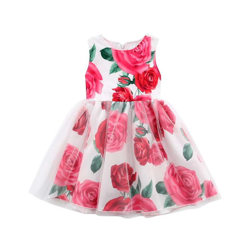 Princess Toddler Kids Baby Girl Flower Lace Long Maxi Tutu Dress Girls Sundress Summer Sleeveless Vestidos Dresses Clothing 1-6Y 2017 summer girls dresses toddler baby girl ruffle floral sleeveless dress sundress briefs bottom 2pcs set flower girls dresses