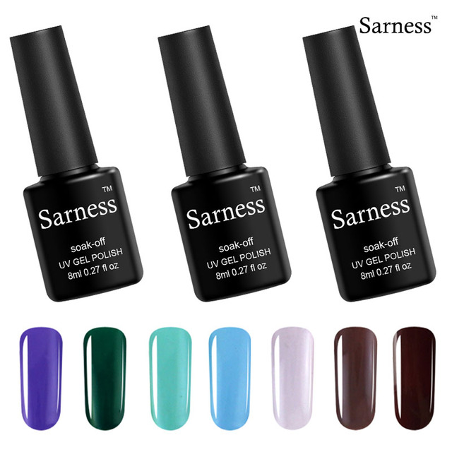 Sarness Cheap Gel Lacquer Black Bottle 8ML Professional UV Gel Nail ...
