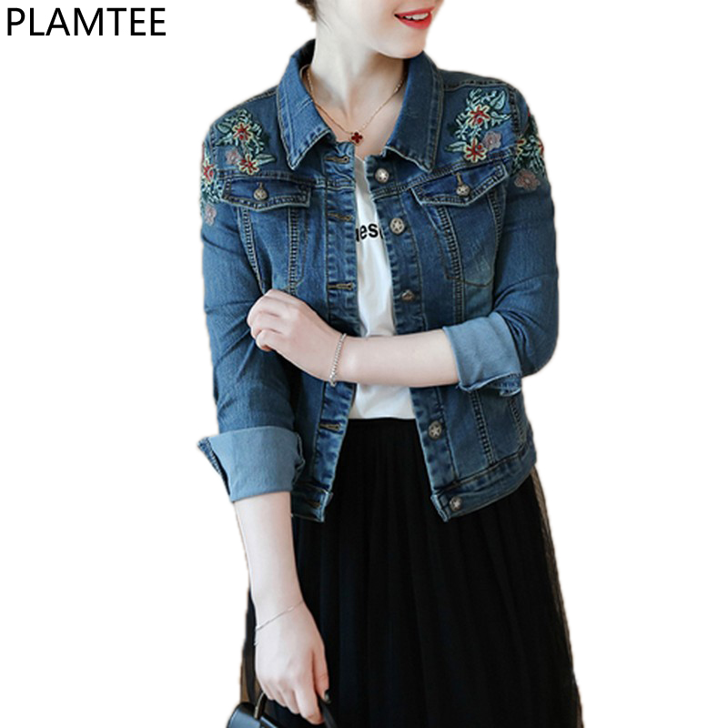 577b63623c2 PLAMTEE Vintage Embroidery Floral Winter Female Denim Jacket Plus Size  Bomber Jackets Women Kpop Slim Short