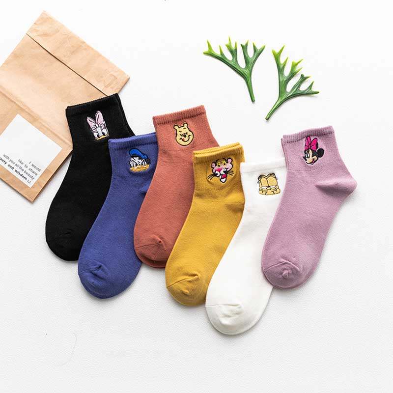 Socks Underwear & Sleepwears New Funny Cartoon Animal Donald Duck Stich Mickey Mouse Pink Panther Cat Cute Cartoon Women Cotton Socks Spring And Autumn Socks Low Price