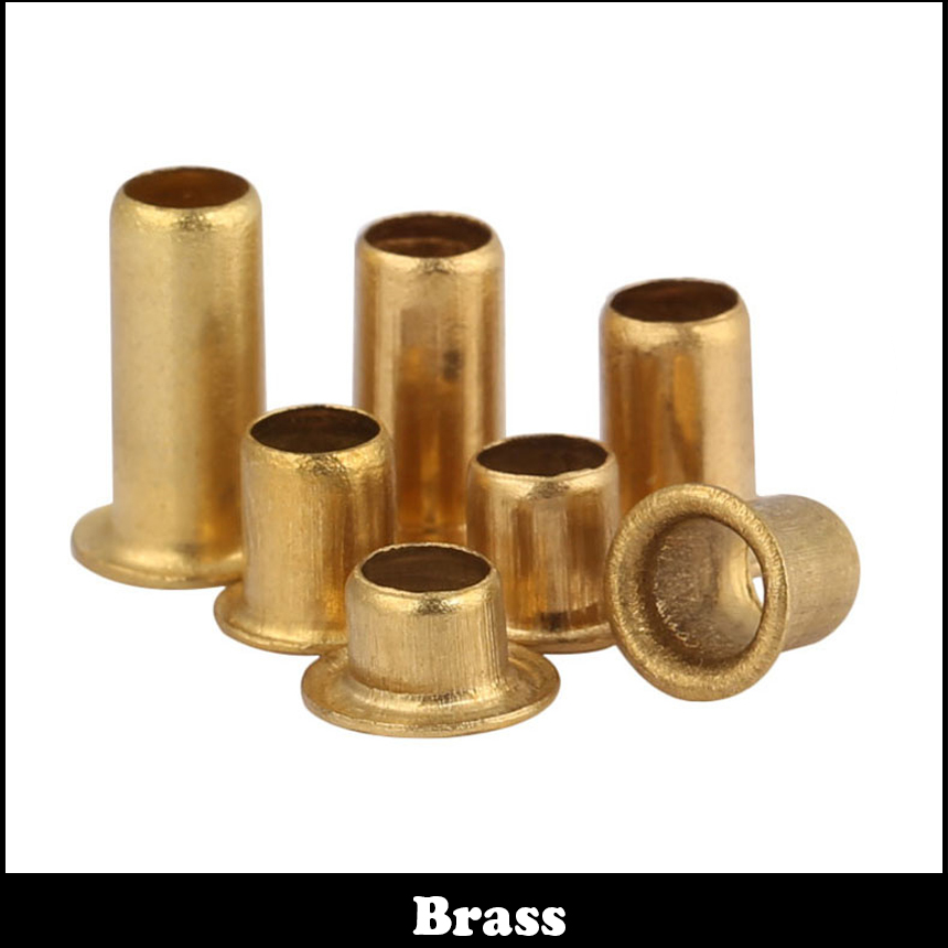 цена на M4 M4*4 M4x4 M4*5 M4x5 M4*6 M4x6 Brass Thin Head Semi-Tubular Through Via Hole PCB Board Lining Eyelet Nail Hollow Rivet