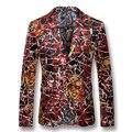 2016 Мужчины Печать Цветочные Блейзеры Куртки Пальто Платье Костюмы мужская Повседневная Мода Slim Fit Весте De Loisir Herren Anzug куртки