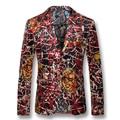 2016 Homens de Impressão Floral Blazers Jaquetas Casacos Ternos de Vestido dos homens Moda Casual Slim Fit Veste De Loisir Herren Anzug jaquetas