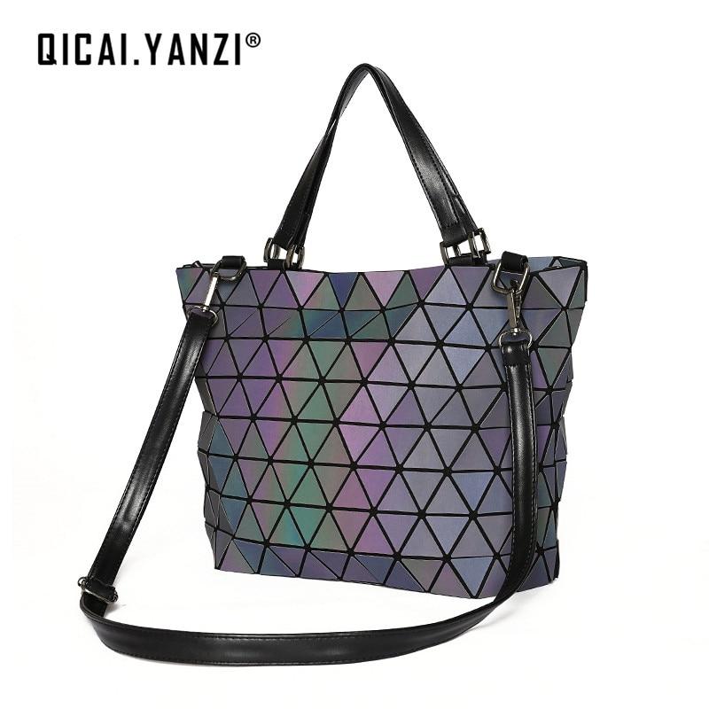 QICAI YANZI 2017 Ladies Luxury Luminous Handbags Bolsas Women Lingge Laser Shoulder Bags Mujer Popular High