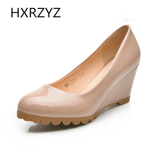 new spring autumn round toe patent leather women shoes wedges high-heeled shoes female shoes low-upper OL leather work shoes