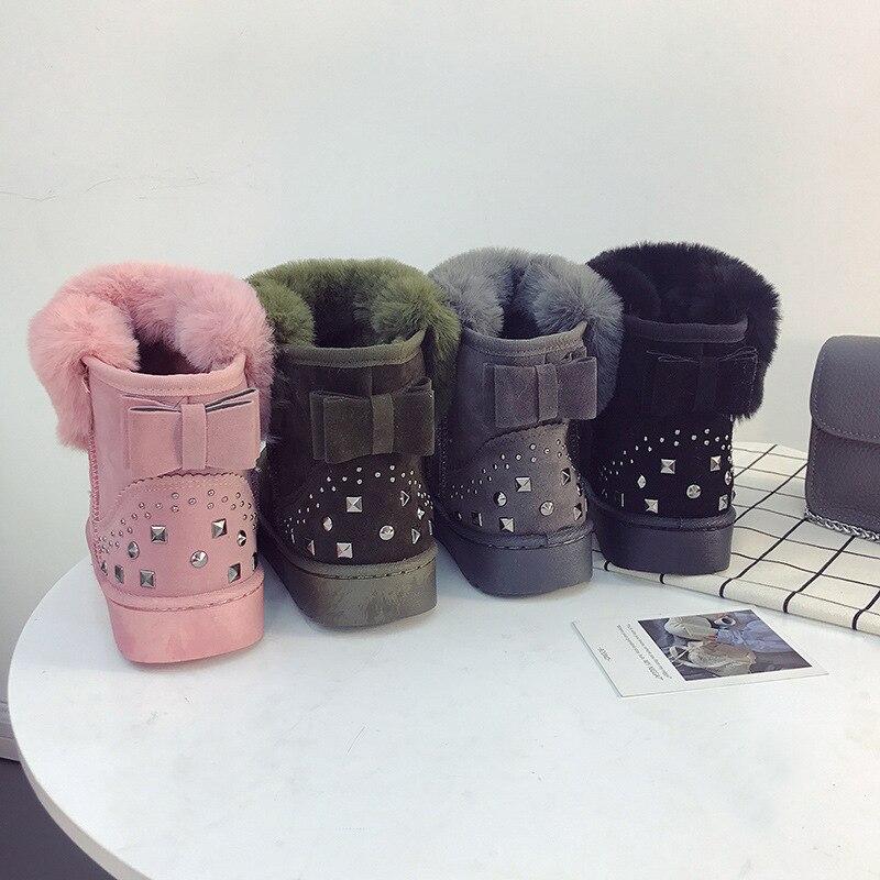 rose Nouvelles Bottes Noir Grande Fourrure Taille Neige gris army Une D'hiver De Sauvage Green Femmes Et 2018 Mode Automne Bottes 6RH6q8w
