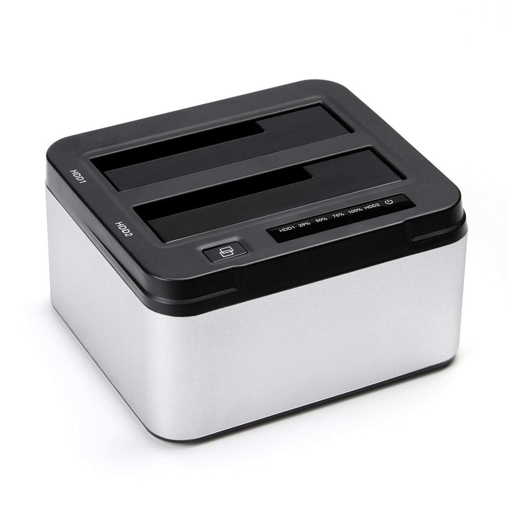 Aluminum Dual Bay USB 3.0 to SATA External Hard Drive Docking Station with Offline Clone Function for 2.5 Inch 3.5 Inch HDD SSD