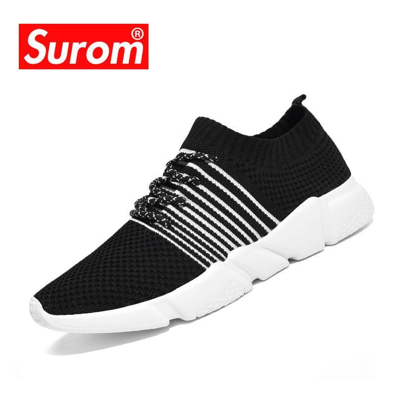 SUROM nyári férfi alkalmi cipő lélegző levegő hálós zokni - Férfi cipők