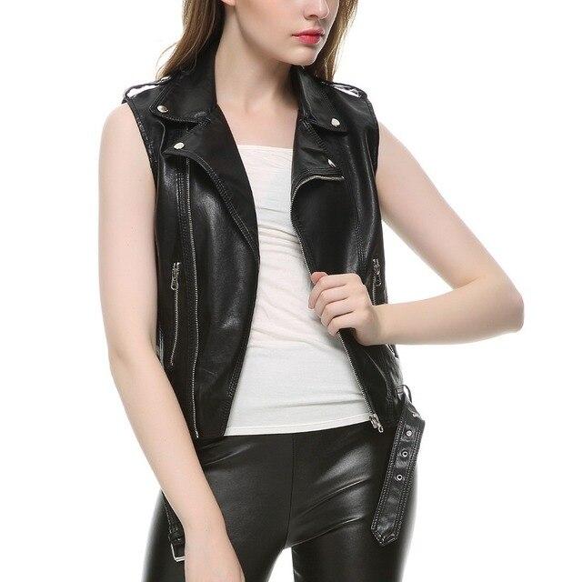 37638d63ef826 Nouveau 2019 femmes en cuir gilet sans manches en cuir veste col rabattu  poches colete feminino