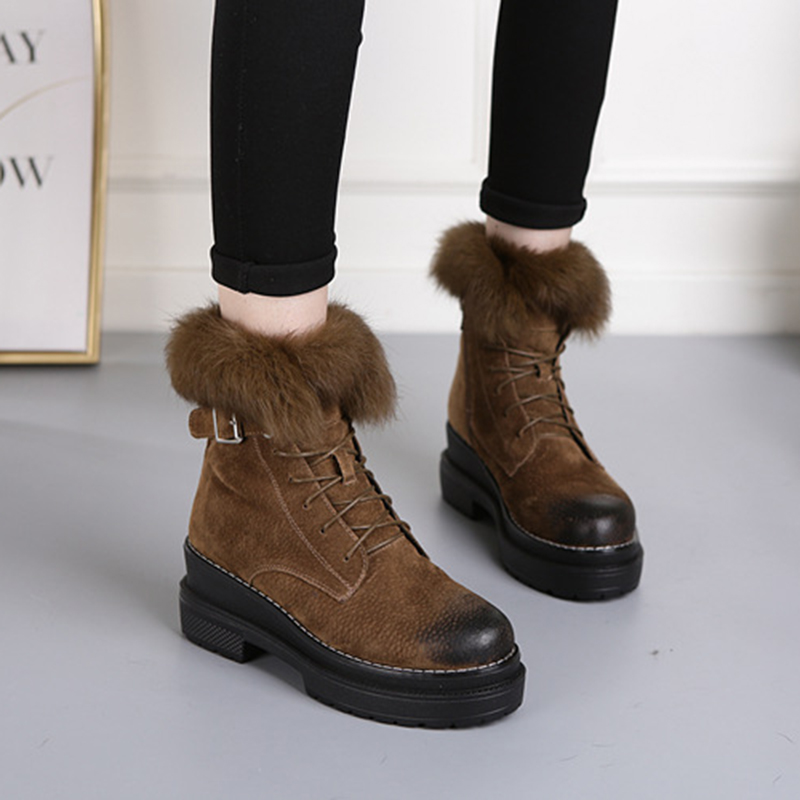 Image 3 - SWYIVY Rabbit Fur Winter Shoes Sneakers Women Ankle Boots Genuine Leather 2019 Winter New Plush Fur Snow Boots Warm Shoes Female-in Ankle Boots from Shoes