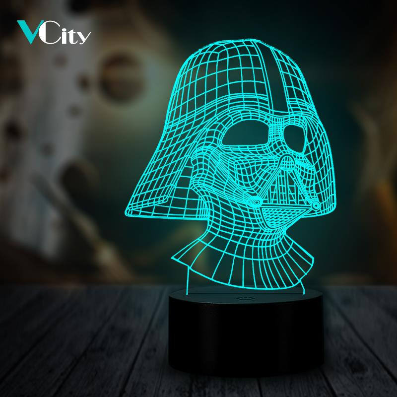 VCity Darth Vader 3D Light LED USB Multicolor Luminaria Table Lamp Gifts for Movie Fans Boys Bedside Decor Lighting Movie Fans