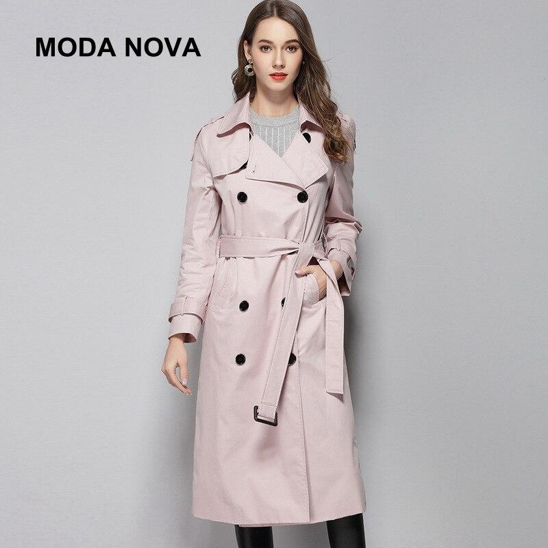 MODA NOVA haute qualité classique Trench manteau femmes élégant double boutonnage Long rose manteau avec ceinture 2018 automne hiver pardessus