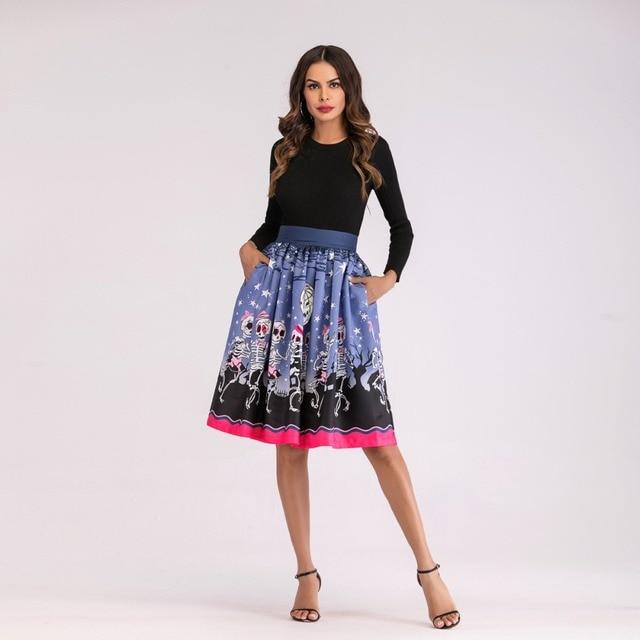 Falda midi patrón estampado halloween 1