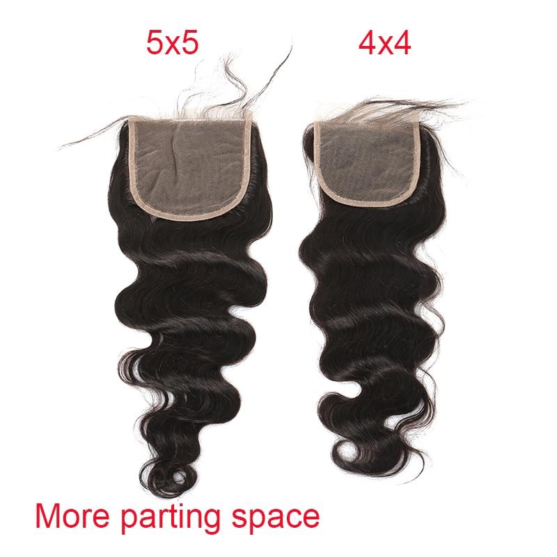 5x5 Закриття шнурка Бразильський - Людське волосся (чорне) - фото 2