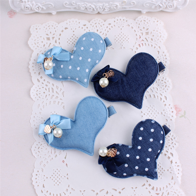 2pcs/lot High Quality Women Fashion denim love and flower Barrettes Hair Clips Girls Hairpins girl Hair Accessories women hair accessories girl hair fascinators wool felt hat flower girl hair bows with clips