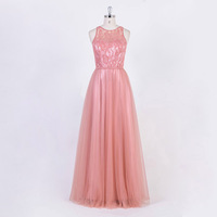 Peach Long Lace Tulle Bridesmaid Dresses Wedding Gown Party Dress
