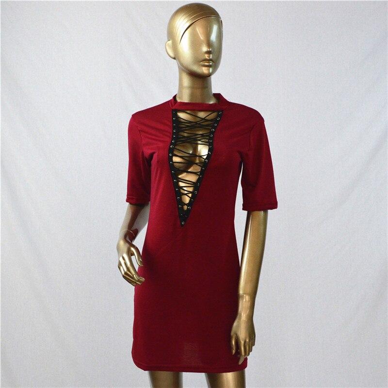 HTB1IQ8xOpXXXXcFXFXXq6xXFXXX0 - Sexy Out Lace Up V Neck Dress Women Short Sleeve PTC 48