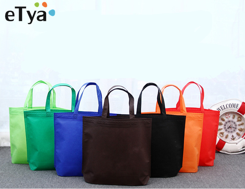 eTya Reusable Folding Shopping Bags Nonwoven Environmental Unisex Reusable Grocery Bag Case Totes Shoulder Organizer Pounch etya women reusable shopping bag printing unisex foldable cotton drawstring grocery shopping bags hot sale case pouch