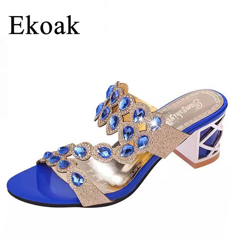 Ekoak Size 35-41 New 2016 Summer Fashion Rhinestone Cut-outs Women High Heel Sandals Ladies ...