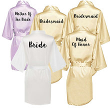 Owiter new bride bridesmaid robe with white black letters mother sister of the bride wedding gift bathrobe kimono satin robes