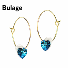 Bulage Blue Heart Crystals From Swarovski Hoop Earrings For Women Simulated Pearl Jewelry 2018 Hanging Earrings Valentine's Day недорого