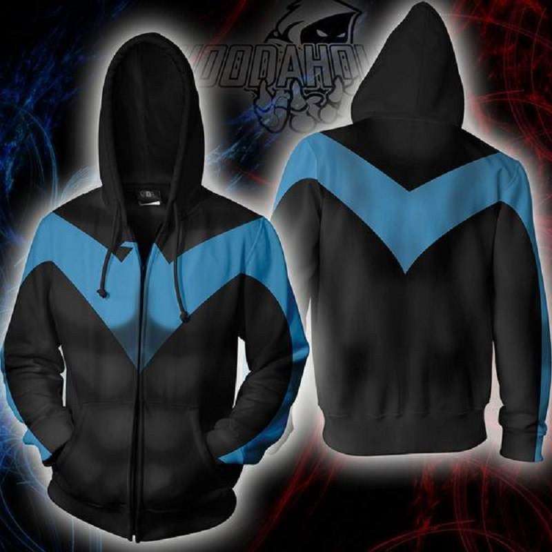 BIANYILONG 2019 New Autumn Winter 3D Print Superhero Nightwing Hoodies Cosplay Casual Zipper Hooded Jacket Clothing