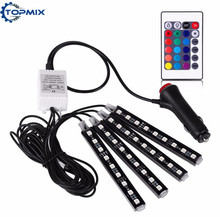 4pcs RGB Car Auto Charge Interior LED Atmosphere Lights 9 LED Decoration Floor Foot Lamp Strip Car Interior Light With Remote