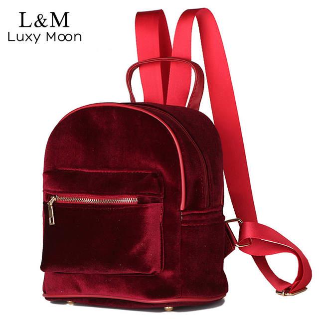 0b788a39ca35 Women Velvet Backpack 2018 mochilas mujer Casual Mini Backpack For Teenage  Girls Wine Red Shoulder Bag