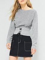 Women Gray Lace Up Front Long Sleeve Knit Jumper Fashion O-neck Long Sleeve Knit Sweater