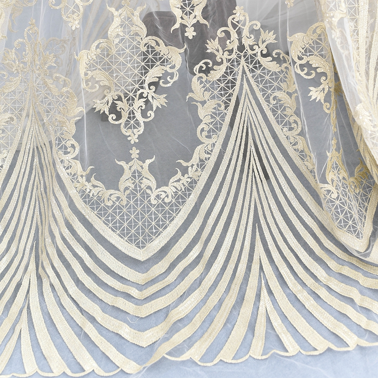 130 100cm embroidered sequins lace fabric for wedding dress Soft high grade lace embroidered applique party dresses fabrics in Lace from Home Garden
