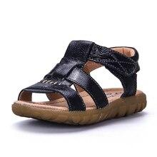 2018 Laki-laki Sandal peep-toe Kulit lembut dengan Otot Sapi Bawah, Anak-anak Padat Sepatu Pantai untuk musim panas