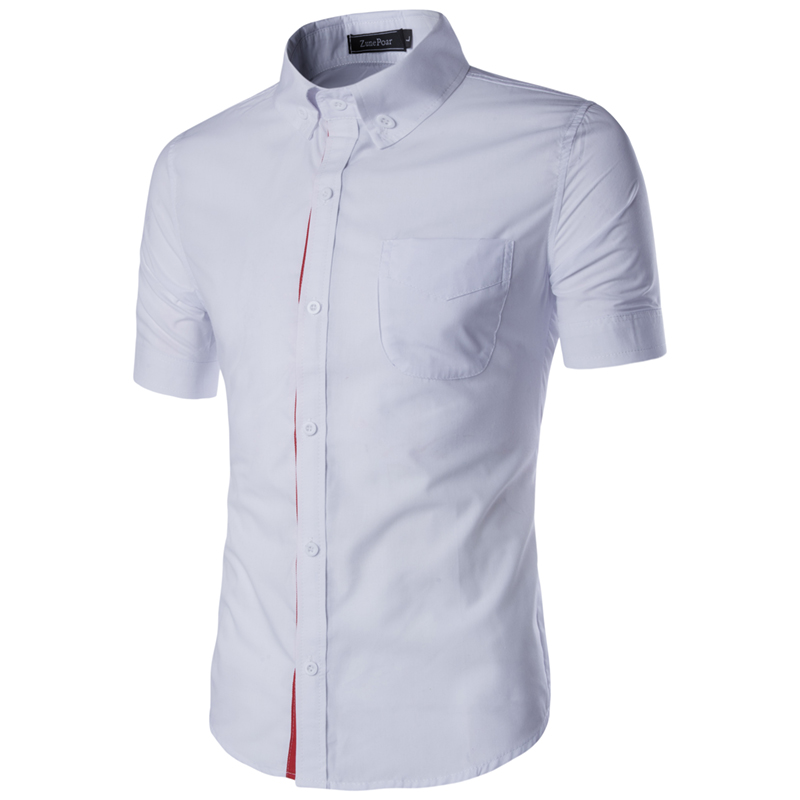 Men Shirts Casual Solid color Slim Fit Short Sleeve
