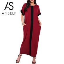 Women Plus Size 3XL 4XL 5XL Robe Dresses Contrast Panel Shirt Dress O Neck Short Sleeve Casual Loose Maxi Long Dress Summer 2019(China)