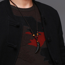 Natural Stone and Black Wolf Tooth Necklace for men