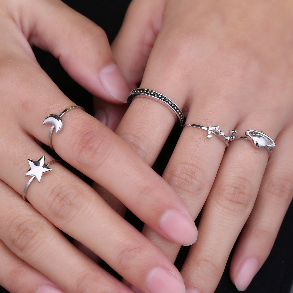 Hot Unique Ring Set Silver Plated Knuckle Rings for Women Finger ...