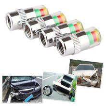 4pcs/set Car Tire Pressure Monitor Valve Stem Caps Air Alert Tire Valve Cap Pressure Sensor Monitor Light Cap Indicator